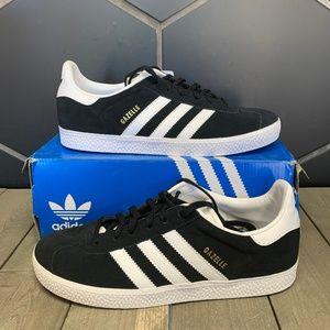 New Adidas Gazelle J Black White Skate Shoes Sz 6